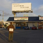 Ernie with Yvonne Rainer's artwork... Pico, west of Fairfax