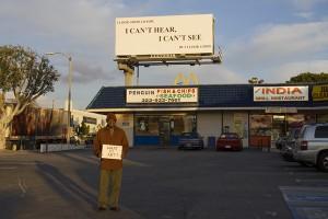 Ernie with Yvonne Rainer's artwork... Pico, west of Fairfax