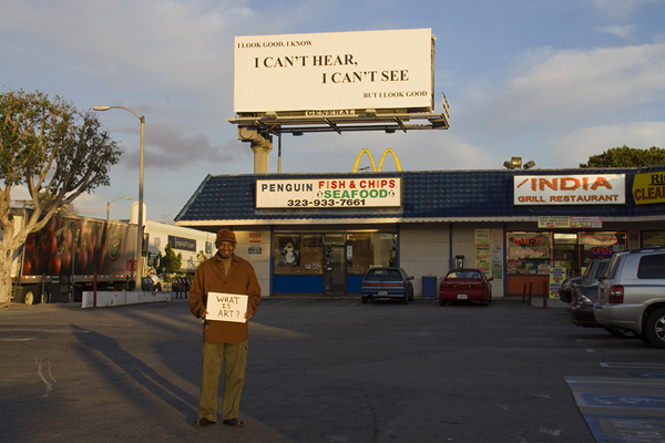Ernie with Yvonne Rainer&#039;s artwork... Pico, west of Fairfax